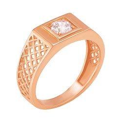 Перстень-печатка из красного золота с цирконием 000106443