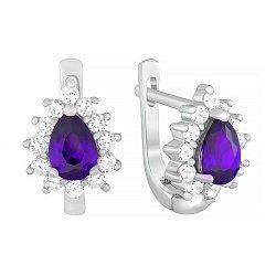 Серьги из серебра с фиолетовым фианитом Пенелопа 000034247