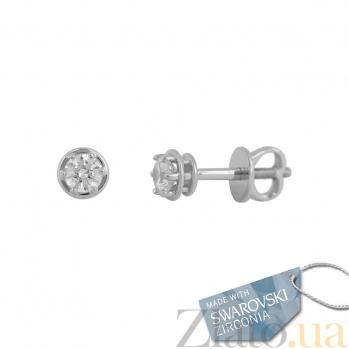 Золотые серьги с кристаллами Swarovski Банни 2С171-0058