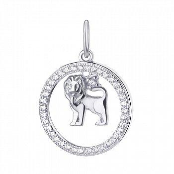 Срібний кулон Лев з фіанітами 000113674