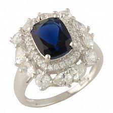 Серебряное кольцо Ариана с синтезированным сапфиром и фианитами