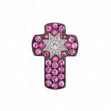Крестик из белого золота Звездный свет с бриллиантами, рубинами и розовыми сапфирами