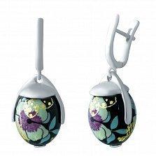 Серебряные серьги-подвески Ночной цветок с эмалью
