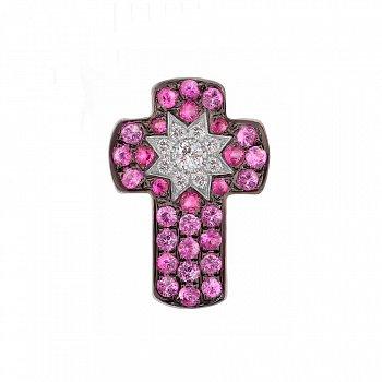 Крестик из белого золота с бриллиантами, рубинами и розовыми сапфирами 000081081