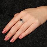 Серебряное кольцо Тропикана с сапфиром и фианитами