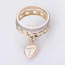 Золотое кольцо Мисана с фианитами и подвеской в стиле Тиффани