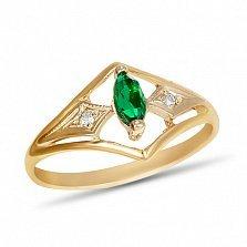 Золотое кольцо Сабрина в комбинированном цвете, с синтезированным изумрудом и фианитами