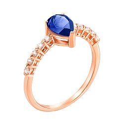 Кольцо из красного золота с сапфиром и фианитами 000135279