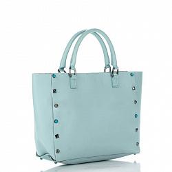 Кожаная сумка на каждый день Genuine Leather 8676 ярко-голубого цвета с декоративными заклепками