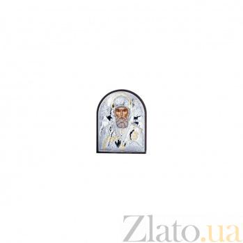 Серебряная икона Николая Чудотворца с позолотой в дереве AQA--EP2-009PAG