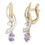 Позолоченные серебряные серьги с фиолетовыми фианитами Арфа