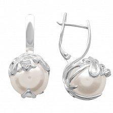 Серебряные серьги Галиция с перламутром и фианитами