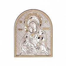 Серебряная Владимирская икона позолоченная