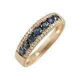 Золотое кольцо в красном цвете с бриллиантами и сапфирами Аврора