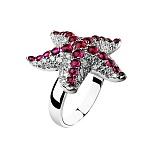 Золотое кольцо с рубинами Звездная ночь