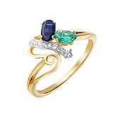 Золотое кольцо Квинси с изумрудом, сапфиром и бриллиантами