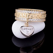Золотое кольцо I Love Tiffany с фианитами