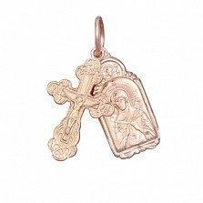 Серебряный крестик с ладанкой Заповедь с позолотой