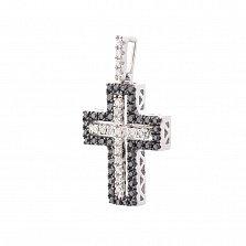 Крестик из белого золота Ронда с черными и белыми бриллиантами