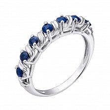 Серебряное кольцо с сапфирами Приам