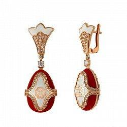 Серьги-подвески в красном золоте Катрин с эмалью и фианитами 000046818