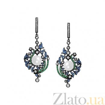Серебряные серьги-подвески Волшебница с жемчугом, синим, зеленым и белым цирконием 000081852