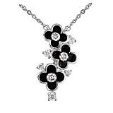Колье из белого золота с бриллиантами и эмалью Черные цветы
