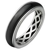 Серебряное кольцо с керамикой Карбонит