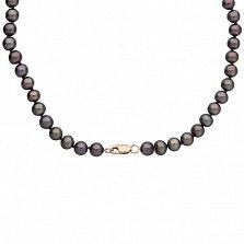 Жемчужное ожерелье Стильная классика с золотым замком, Ø6,0-6,5мм