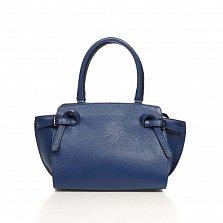 Кожаная деловая сумка Genuine Leather 6513 синего цвета на молнии, с металлическими ножками