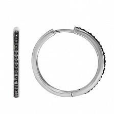 Серьги-кольца с черными фианитами Принцесса