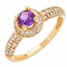 Золотое кольцо Шарлотта с аметистом и фианитами