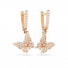Золотые серьги-подвески Бабочки в снегу с белыми фианитами