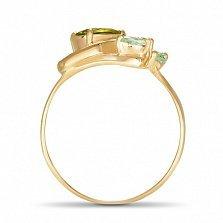 Золотое кольцо Майский цветок с синтезированными хризолитом и изумрудами