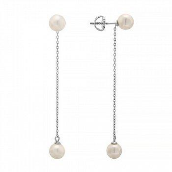 Серебряные серьги-подвески с жемчугом 000028918