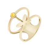 Кольцо в желтом золоте Порхающее чудо с цитрином и фианитами