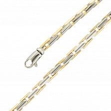 Золотой браслет Арон в желтом и белом цвете с геометрическими звеньями, 3,5мм