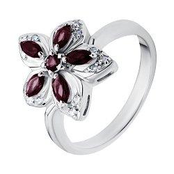 Серебряное кольцо с бриллиантами и рубинами Прага