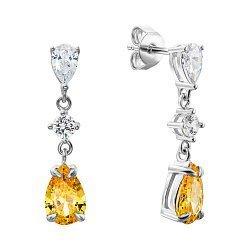 Серебряные серьги-подвески с желтыми и белыми фианитами 000134019
