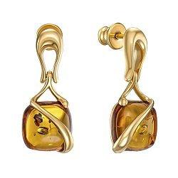 Серебряные серьги-подвески с янтарем 000149090