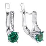 Серебряные серьги с зелёным кварцем Флавия