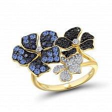 Золотое кольцо Фиалковый букет с сапфирами, черными и белыми бриллиантами