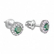 Серебряные серьги-пуссеты Солнышко с зеленым кварцем и цирконием, 6мм