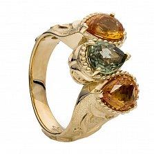 Золотое кольцо с цветными сапфирами Эмерсон
