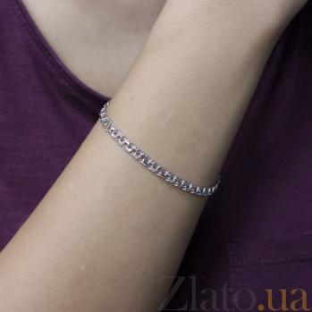 Серебряный родированный браслет Бисмарк с алмазной гранью, 4 мм 000097046