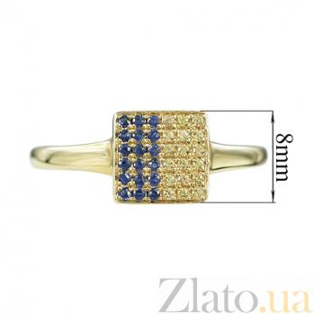 Золотое кольцо с сапфирами Флаг Украины 000026832