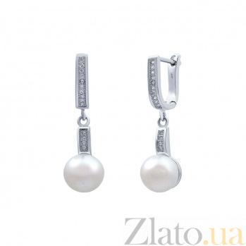 Серьги серебряные с белым жемчугом Бонита AQA--E00758-1PW