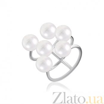 Серебряное кольцо с жемчугом Море нежности 000028044