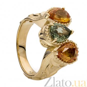 Золотое кольцо с цветными сапфирами Эмерсон 000030046