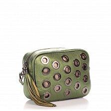 Кожаный клатч Genuine Leather 1617 зеленого цвета с декоративной перфорацией и замком-молнией